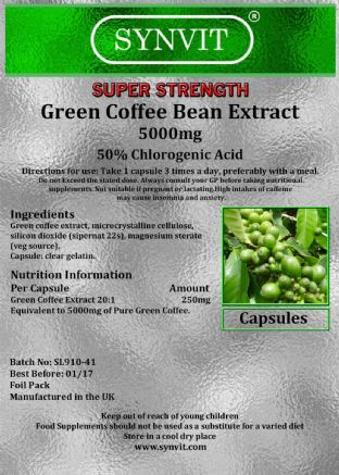 Green Coffee Extract 5000mg - 50% Chlorogenic Acid -Diet, Weight Loss & Slimming
